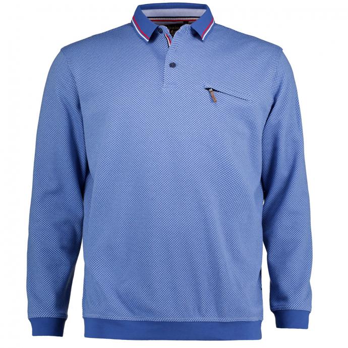 "Strukturiertes Poloshirt ""Stay Fresh"", langarm blau_600 | 3XL"
