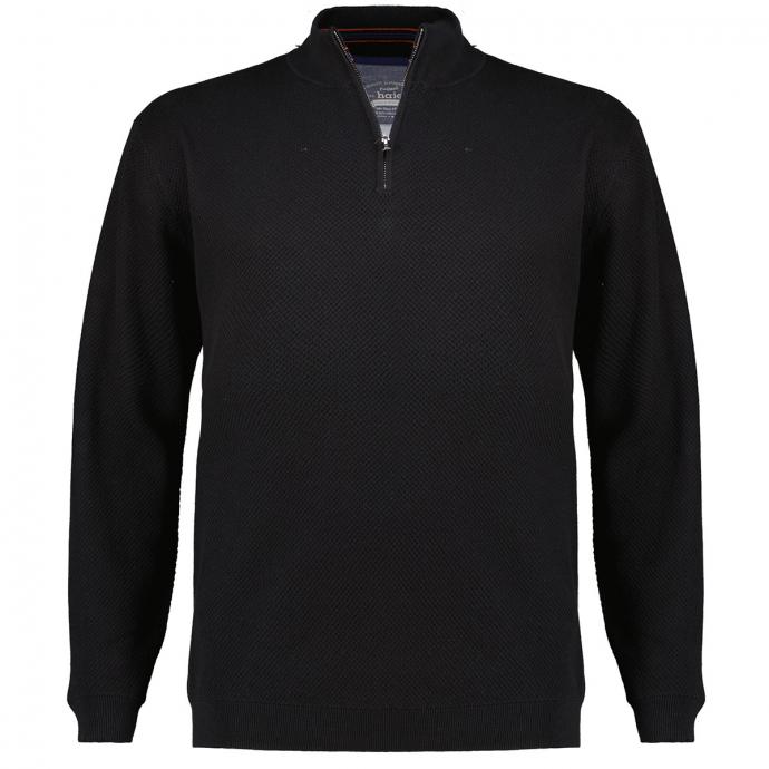Pullover mit Troyerkragen schwarz_100   3XL