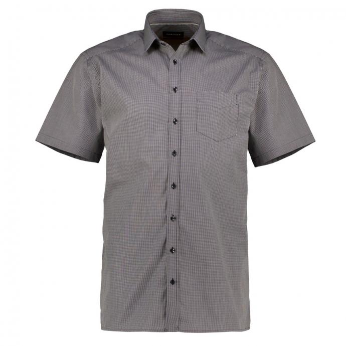 Bügelleichtes Freizeithemd mit Allover-Karo, kurzarm schwarz/weiß_050 | 45