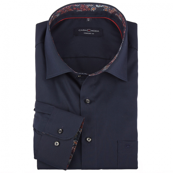 Cityhemd mit auffallendem Kontrastausputz dunkelblau_116/400 | 46