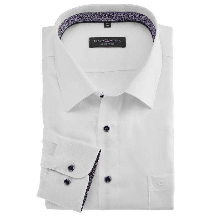 Dezent strukturiertes Businesshemd, langarm weiß/weiß_000 | 4XL