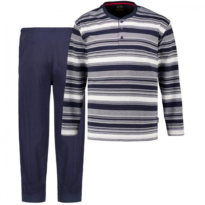 Pyjama mit Henleykragen, langarm blau_8411   60/62