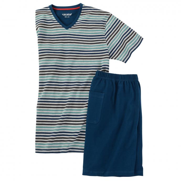 Bügelfreier Schlafanzug in Kurzform, atmungsaktiv petrol_622 | 80