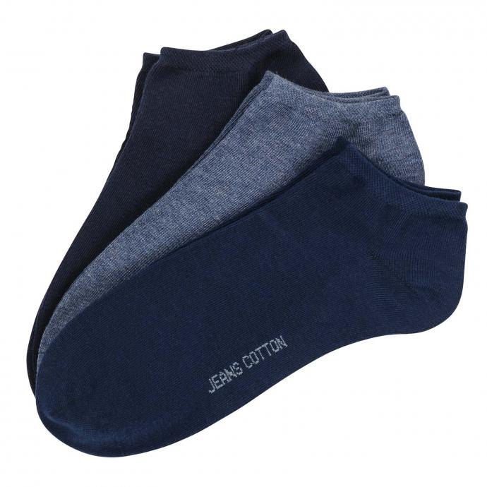 Sneaker-Socken mit elastischen Bündchen im 3-er Pack blau_BLAU | 47-50