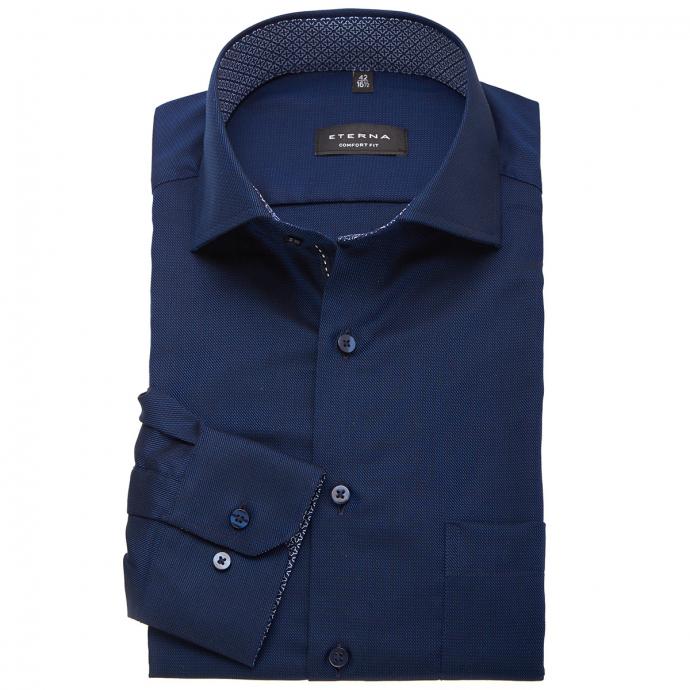 Strukturiertes Cityhemd, bügelleicht, langarm dunkelblau_34/400 | 47