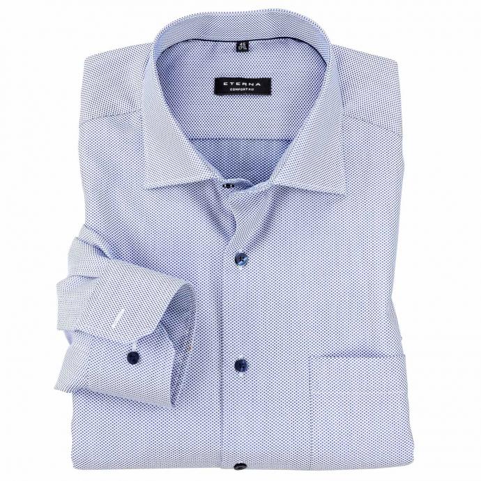 Modernes City-Hemd mit Punkten bedruckt, langarm mittelblau_160 | 47