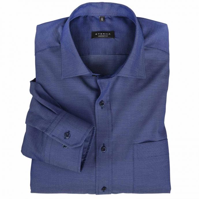 Apartes Cityhemd mit feiner Struktur, langarm blau_18 | 50