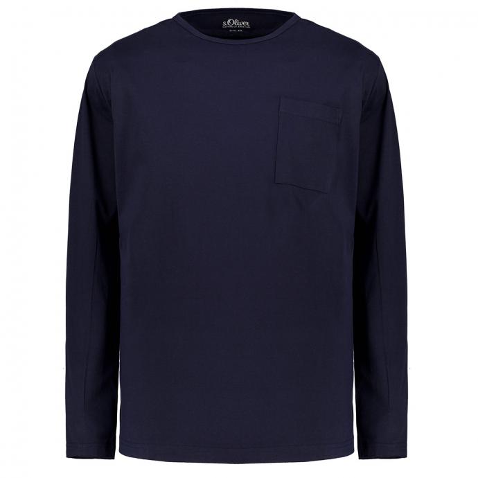 T-Shirt aus weichem Jersey, langarm marine_5978 | 3XL