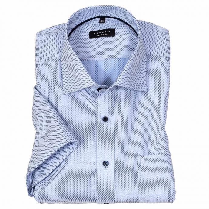 Gemustertes Cityhemd mit Brusttasche, kurzarm blau/weiß_12/4020 | 50