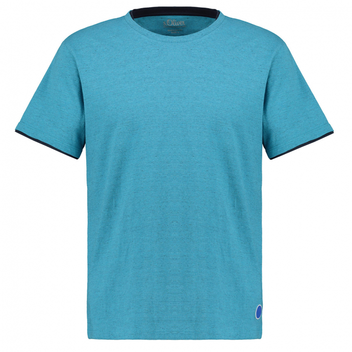 Meliertes Baumwoll-T-Shirt karibikblau_62W0 | 3XL