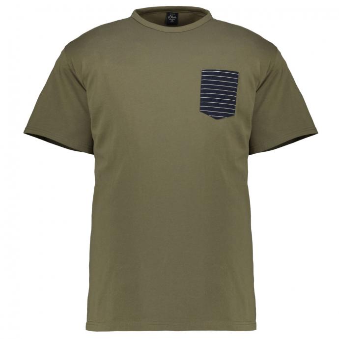 T-Shirt mit kontrastfarbener Brusttasche oliv_7860 | 5XL