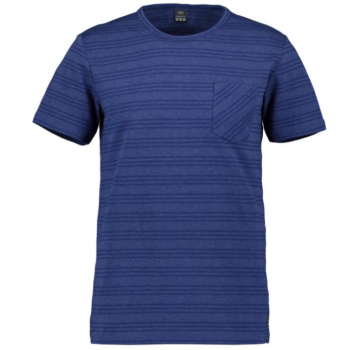 Gestreiftes T-Shirt mit Brusttasche dunkelblau_56W0   4XL