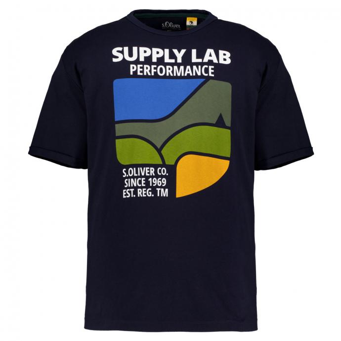 T-Shirt mit Frontprint marine_5978 | 3XL