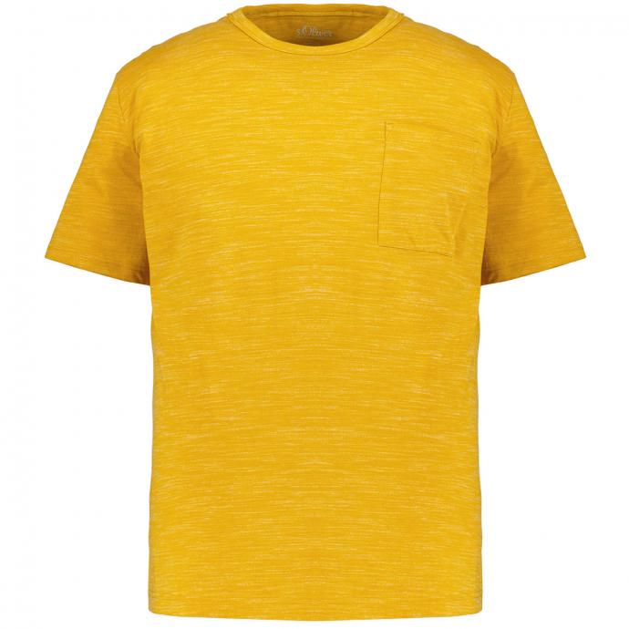 lässiges T-Shirt mit Flammgarn-Effekt, kurzarm curry_15W0 | 3XL