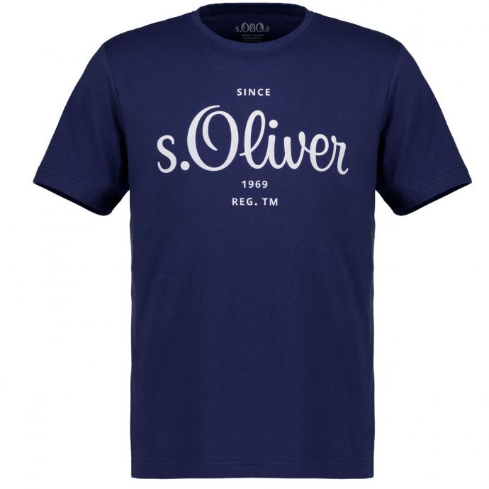 T-Shirt mit Letterprint, kurzarm blau_5693 | 3XL