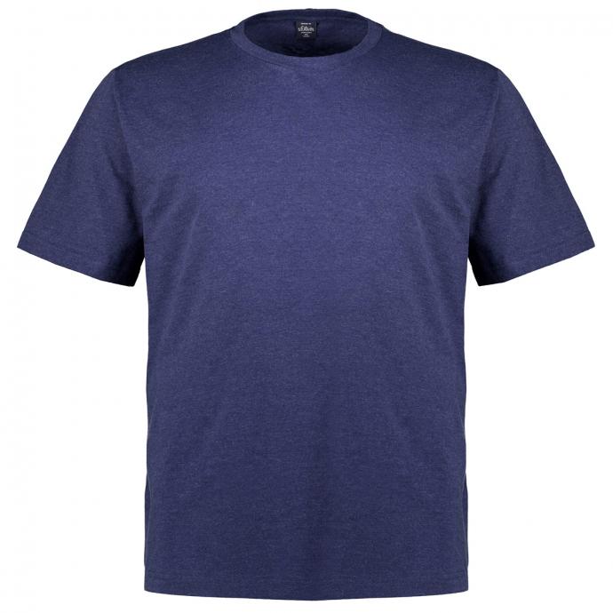 T-Shirt in leicht melierter Optik dunkelblau_56W0 | 3XL
