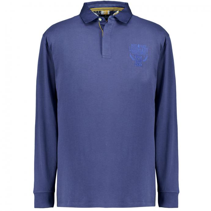 Langärmliges Jersey-Poloshirt dunkelblau_079   5XL