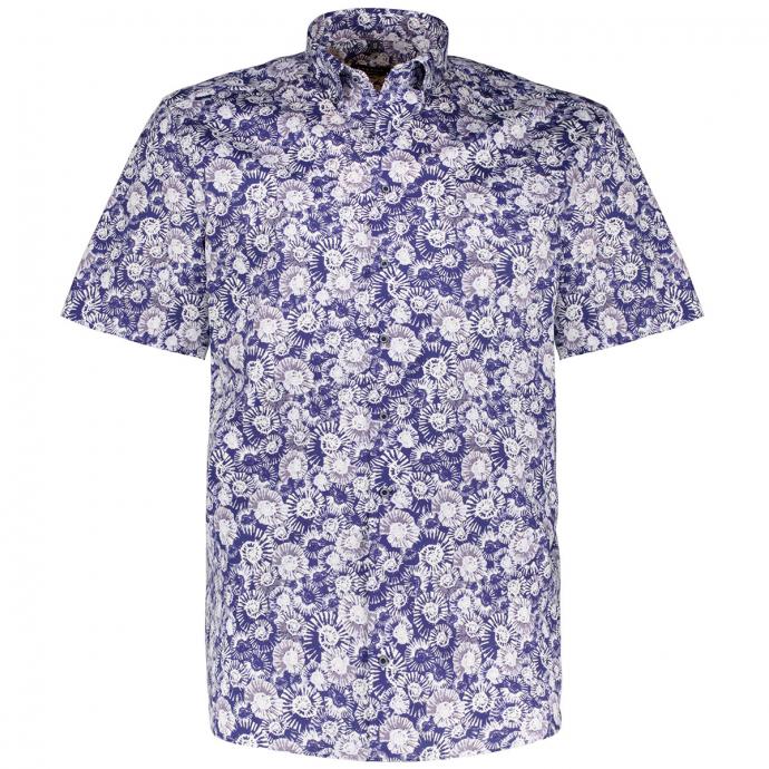 Baumwollhemd mit stilisiertem Allover-Print, kurzarm blau/weiß_18/4020 | 46