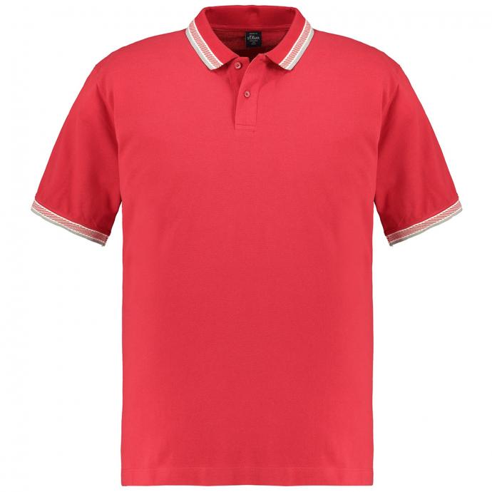 Poloshirt mit Kontraststreifen rot_3185 | 3XL