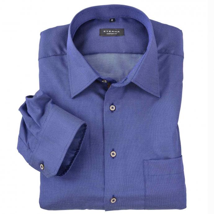 Fein gemustertes, bügelfreies Cityhemd, langarm blau_15 | 47
