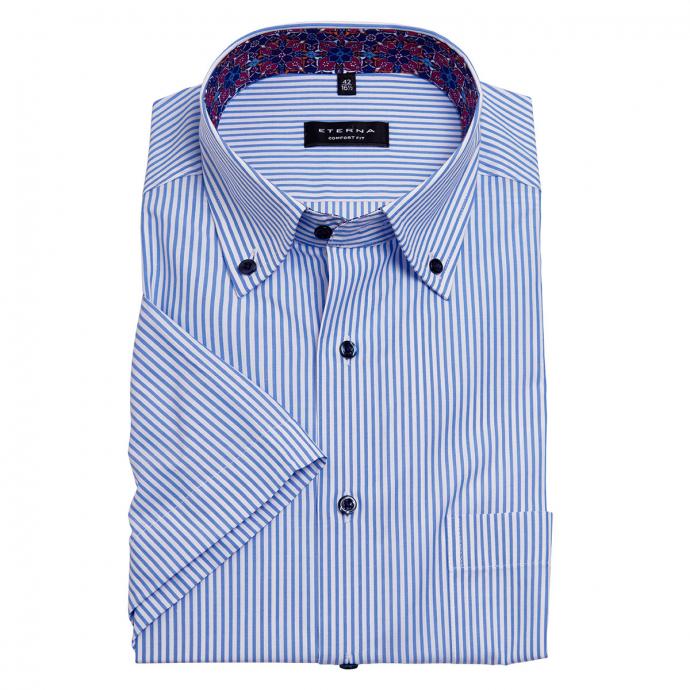 Bügelfreies, elegantes Cityhemd, kurzarm blau/weiß_13/4020 | 48