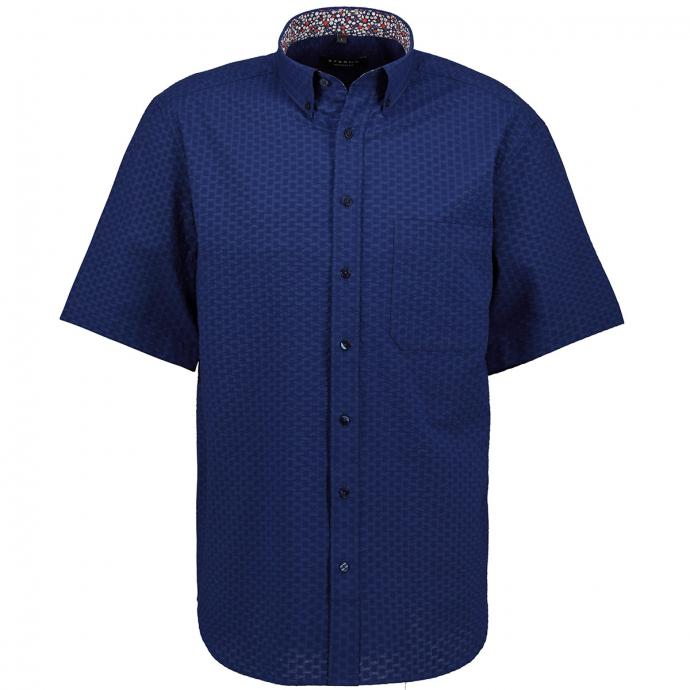 Zeitlos, modernes Seersucker-Freizeithemd, kurzarm blau_18 | 46