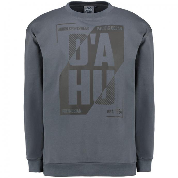 """Sweatshirt mit gummiertem """"O'AHU""""-Frontprint grau_143   4XL"""