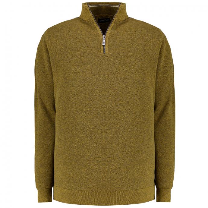Pullover mit Stehkragen und Half-Zip Reißverschluss curry_556 | 3XL