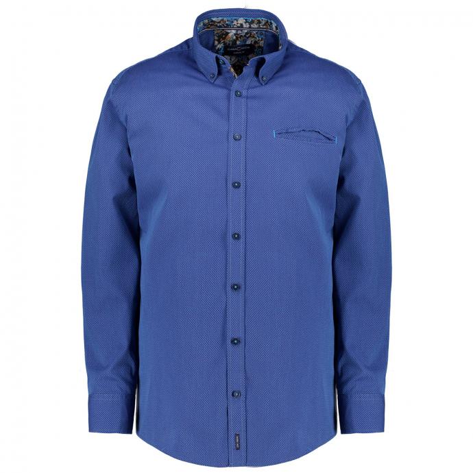 Dezent gemustertes Freizeithemd mit floralen Details, Casual Fit jeansblau_101 | XXL
