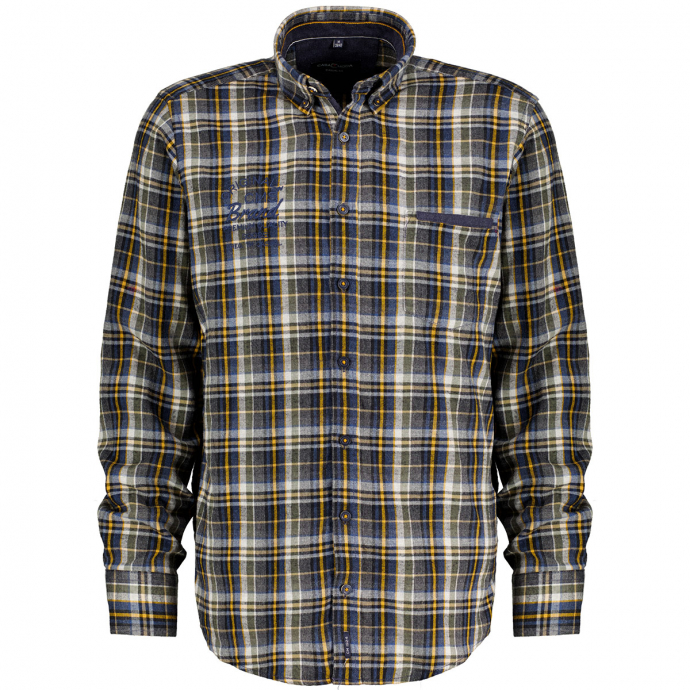 Kariertes Button-Down-Flanellhemd blau/gelb_500/4070 | 4XL