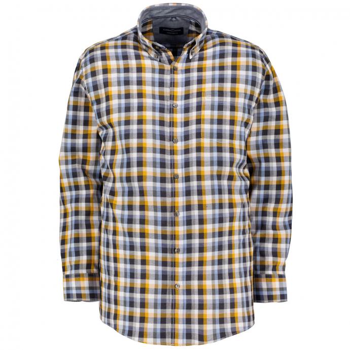 Modisches Freizeithemd im Karo-Look blau/gelb_750/4070   XXL