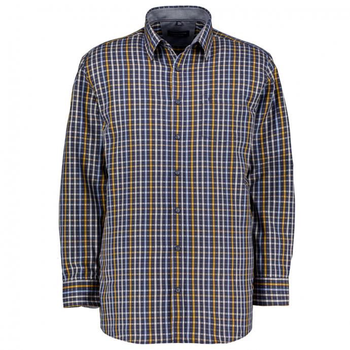 Trendiges Freizeithemd im Karo-Look, Comfort Fit blau/gelb_100/4070 | 3XL