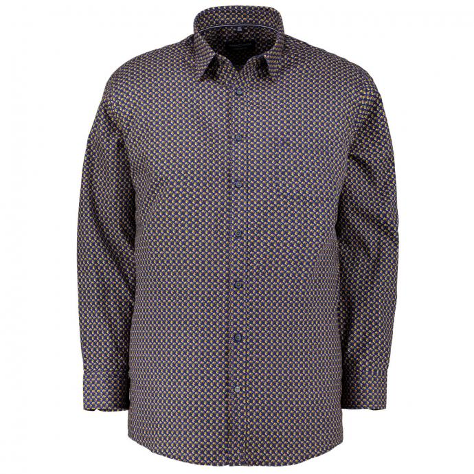 Freizeithemd aus Baumwolle mit modischem Alloverprint, langarm blau/gelb_500/4070 | XXL