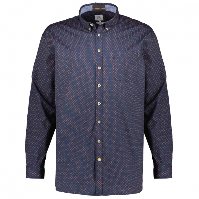 Freizeithemd mit Micro-Alloverprint dunkelblau_47/400   XXL