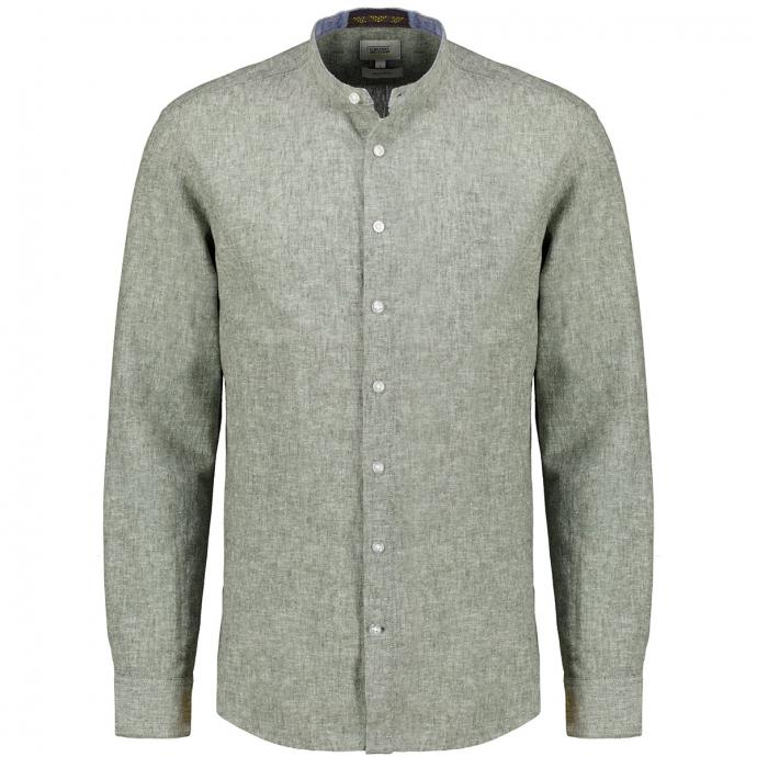 Freizeithemd mit Stehkragen, langarm grün_35   XXL