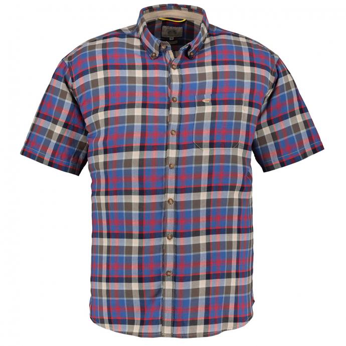 Kariertes Freizeithemd mit Elasthan, kurzarm blau/rot_28 | 5XL