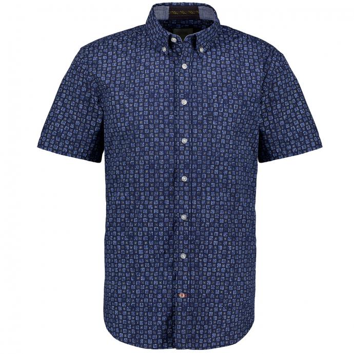 Freizeithemd mit Allover-Print, kurzarm blau/dunkelblau_49/4040   5XL