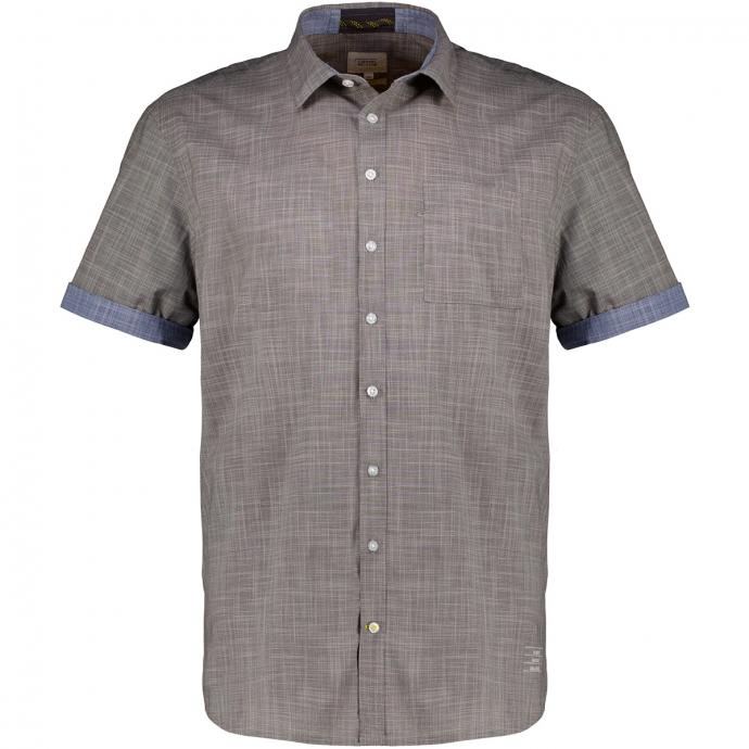 Strukturiertes Baumwollhemd, kurzarm anthrazit_88   XXL