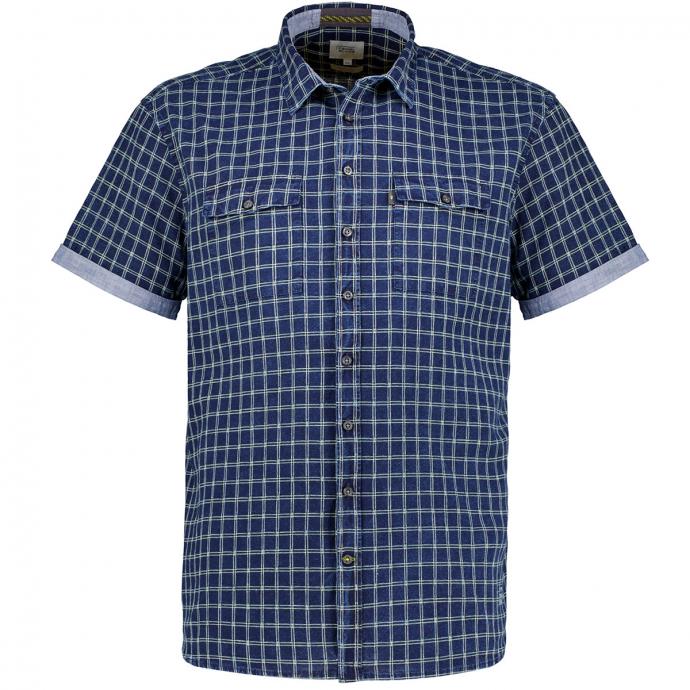 Kariertes Baumwollhemd mit Leinenanteil, kurzarm blau/gelb_46/4070 | XXL