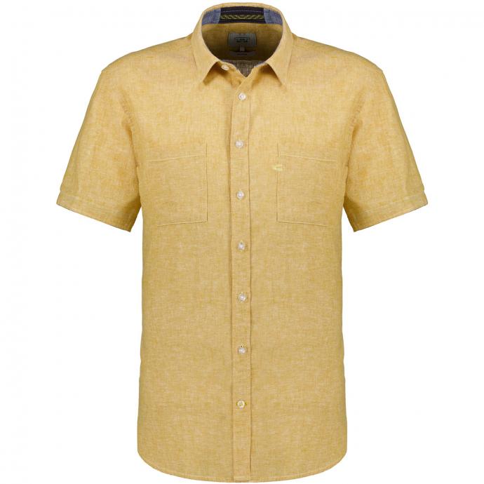 Freizeithemd melierte Optik, kurzarm gelb_60   XXL