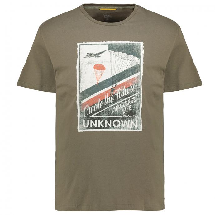 "T-Shirt mit großem Fallschirmprint ""Create the Future"" oliv_75 | 5XL"