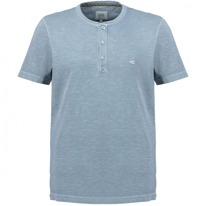 Modisches T-Shirt mit Serafino-Kragen blau_41 | 3XL