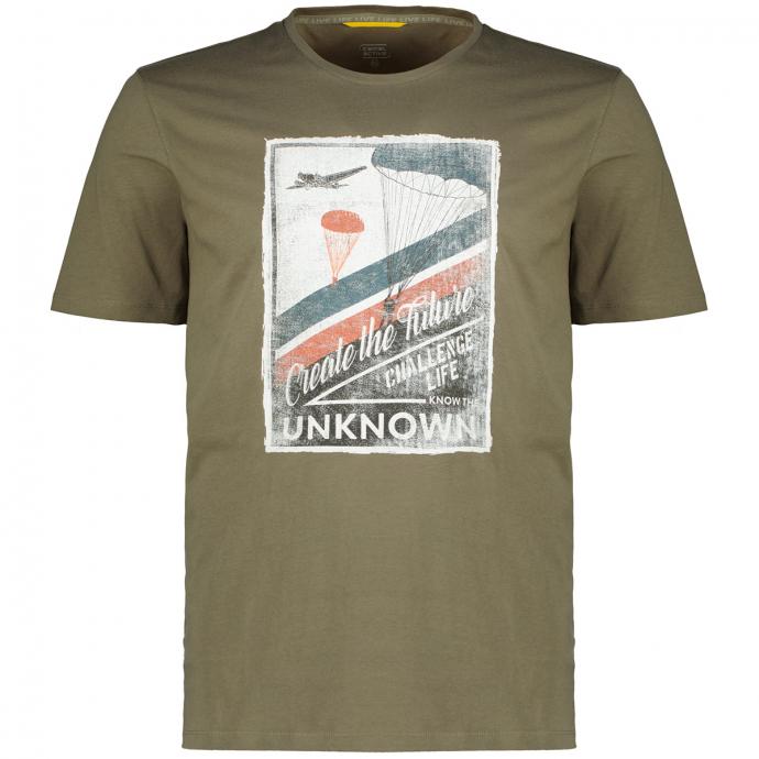 T-Shirt mit Print in Retro-Optik oliv_31 | 3XL