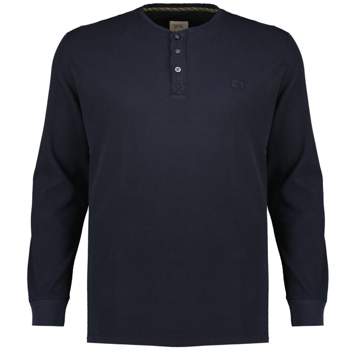 Strukturiertes Henleyshirt aus Bio-Baumwolle anthrazit_88   3XL