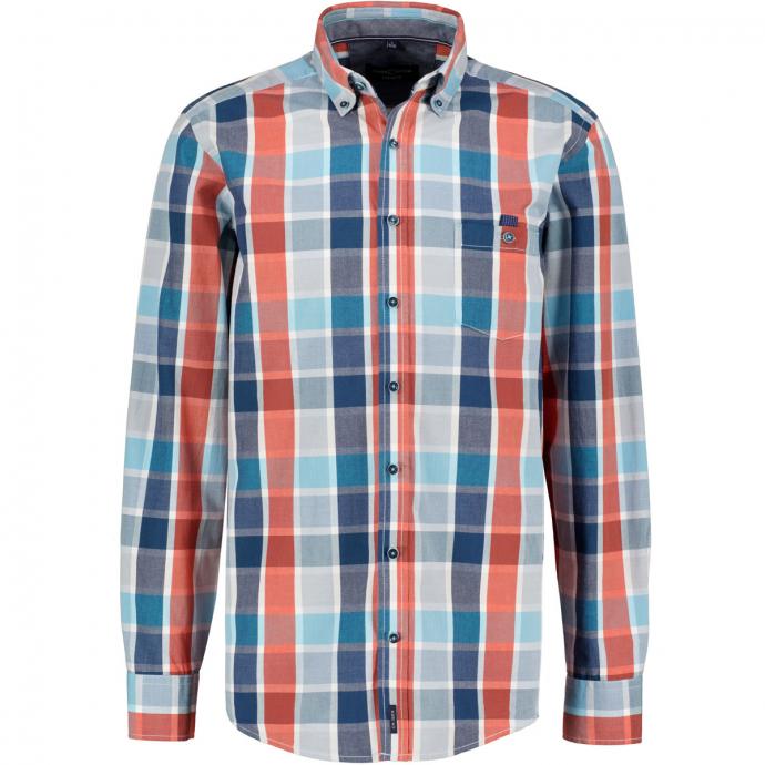 Freizeithemd modern kariert, langarm blau/orange_450/4055 | XXL