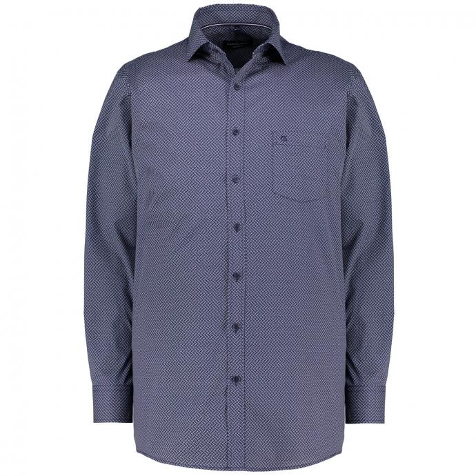 Freizeithemd mit Allover-Print,  langarm blau/weiß_100/4020 | 3XL