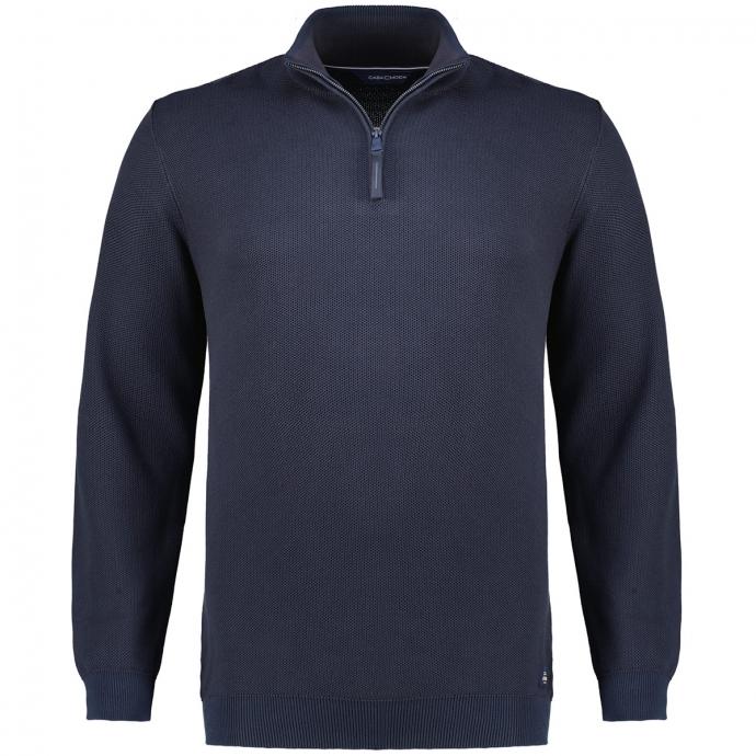 Sportlicher Pullover aus Baumwollstrick mit Stehkragen und Zip marine_105 | 3XL