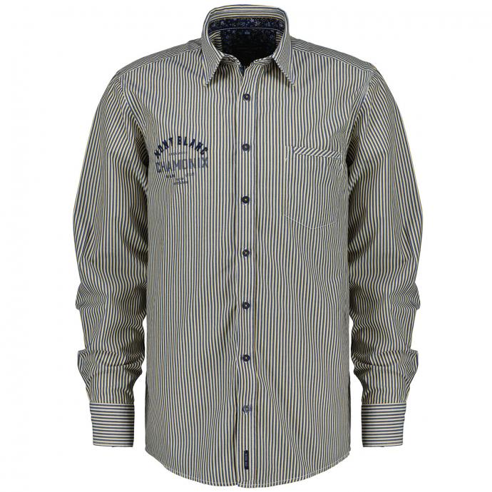 Gestreiftes Freizeithemd aus Baumwolle mit Stick-/Printelementen blau/gelb_500/4070   XXL