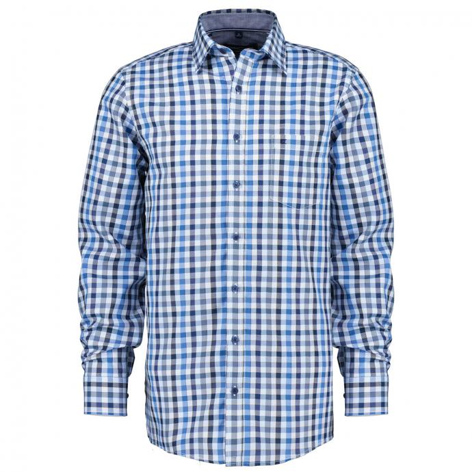 Kariertes Baumwollhemd, langarm blau_100 | XXL