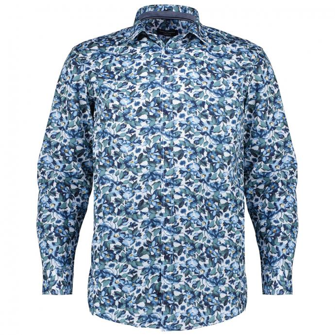 Freizeithemd aus Baumwolle mit floralem Muster grün_300   XXL